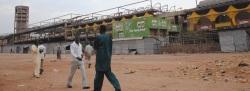 Zerstörte Markthalle im Zentrum der Stadt Jos in Plateau State/Nigeria.